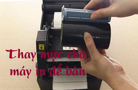 Cách gắn mực máy in tem nhãn để bàn