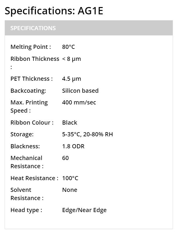 thông số chính của ribbon mực in Waxresin AG1E
